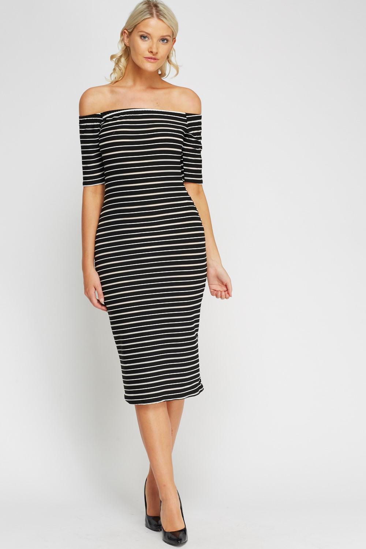 5ced0dc6a68b Off Shoulder Striped Midi Dress - Just £5