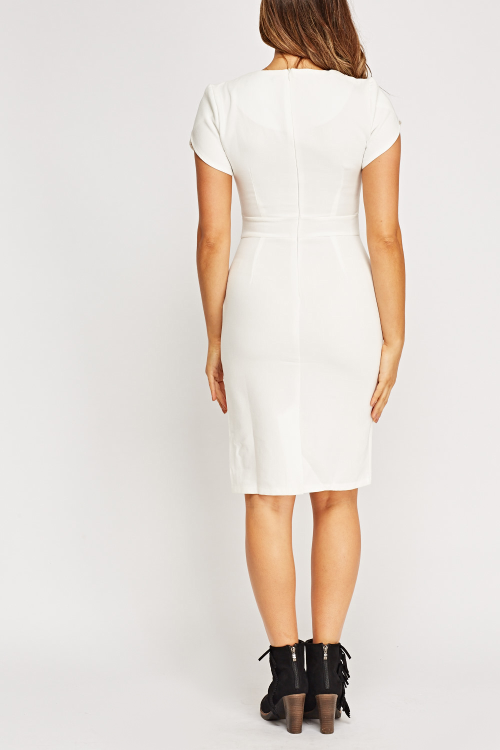 Detailed Bodice White Pencil Dress Just 163 5