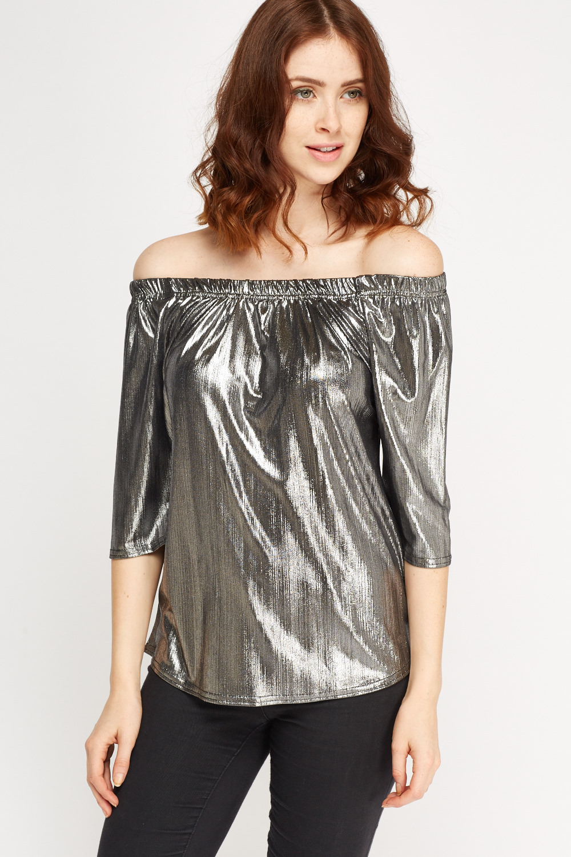 e7aa422525369 Metallic Off Shoulder Top - Just £5