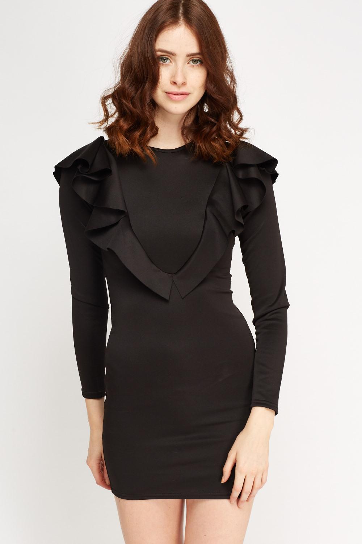 dca95be1a0e3 Ruffled Long Sleeve Bodycon Dress - Black - Just £5