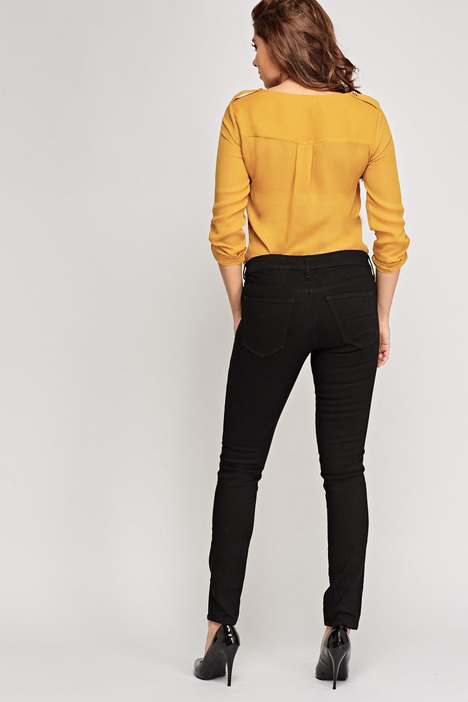 low waist skinny jeans black just 5. Black Bedroom Furniture Sets. Home Design Ideas