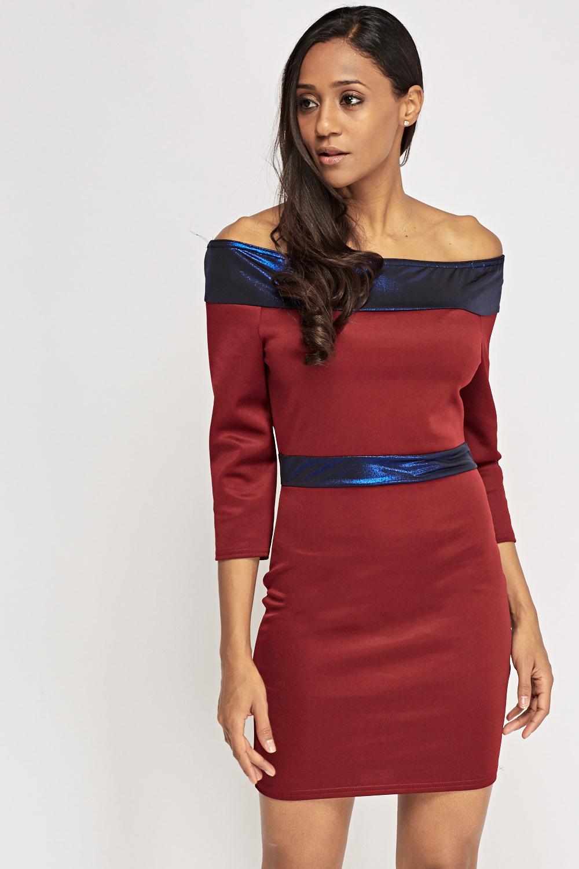 162c1765d496 Off Shoulder Metallic Contrast Dress - Wine Royal Blue or Wine ...