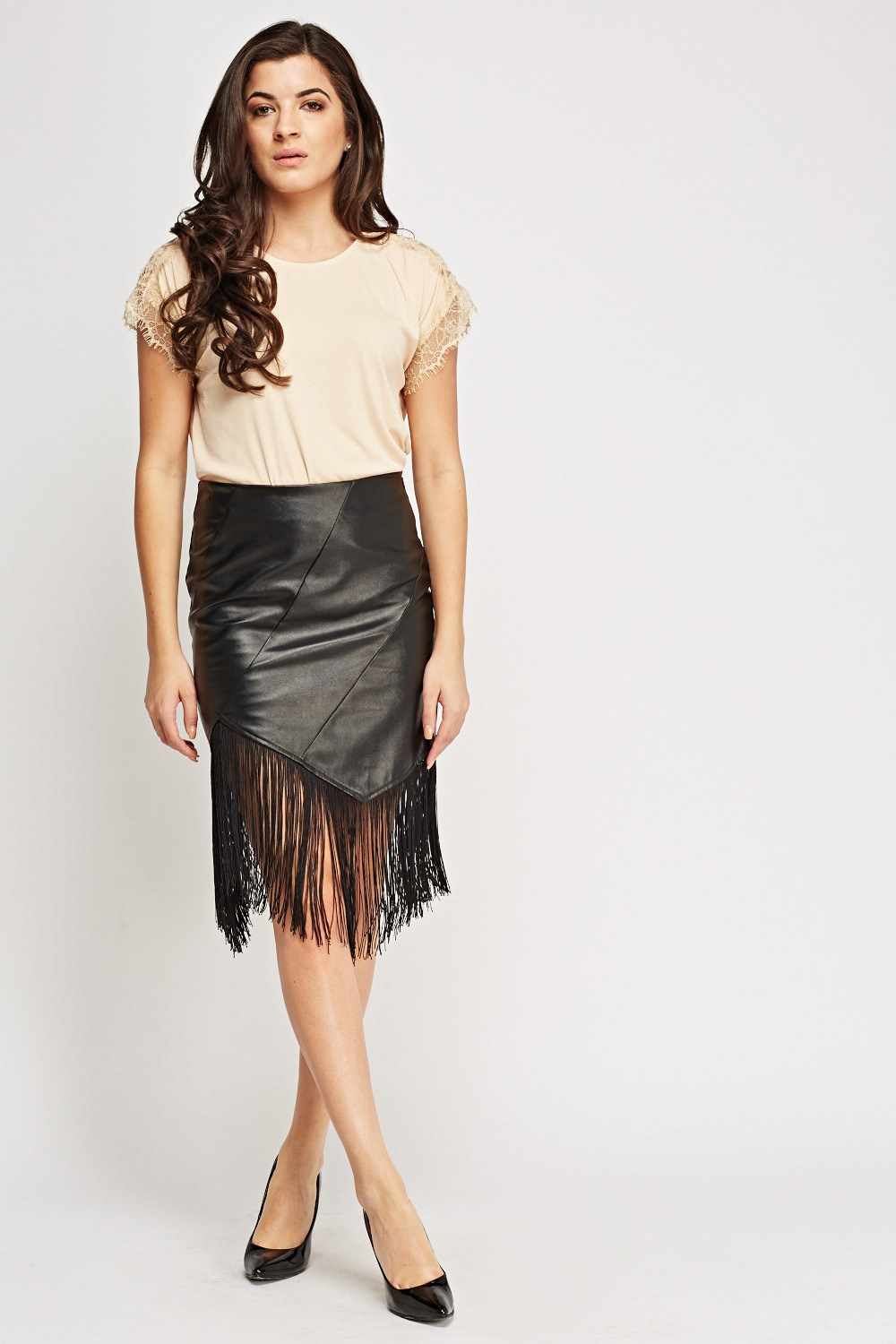 fc314661d148 Asymmetric Fringed Faux Leather Skirt - Just £5