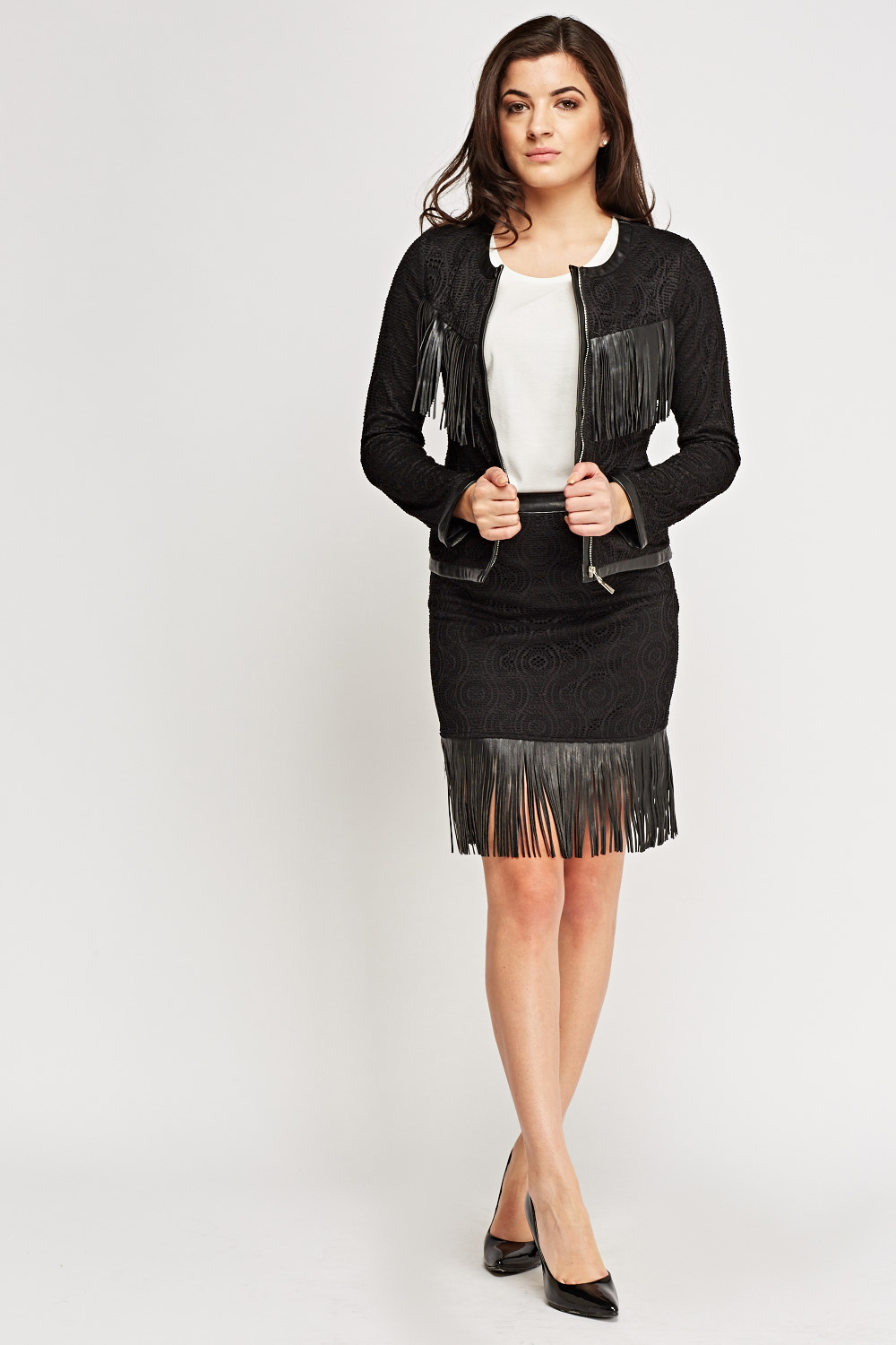 a3be690134f2 Mesh Overlay Fringed Skirt - Just £5