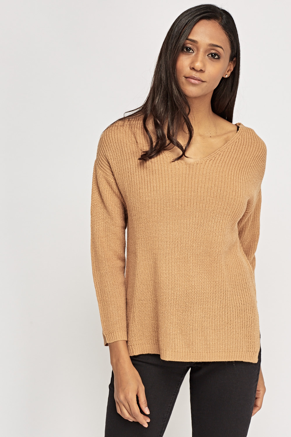 ccfa6093a0337d Ribbed V-Neck Knitted Jumper - Just £2