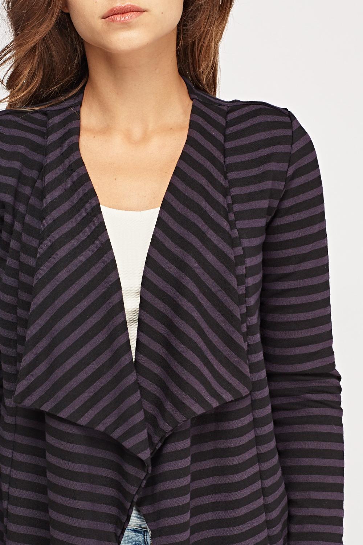 Striped Waterfall Cardigan - Black/Purple - Just £5