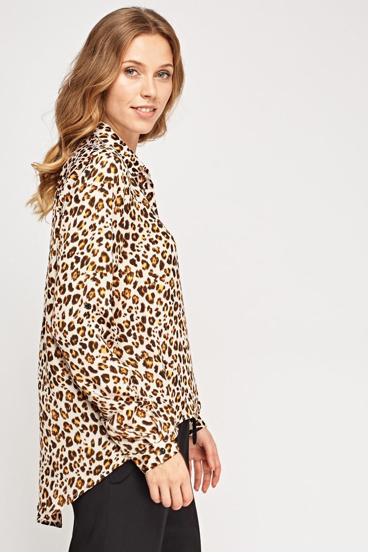 8b6a5d19217 Leopard Print Dip Hem Blouse - Just £5