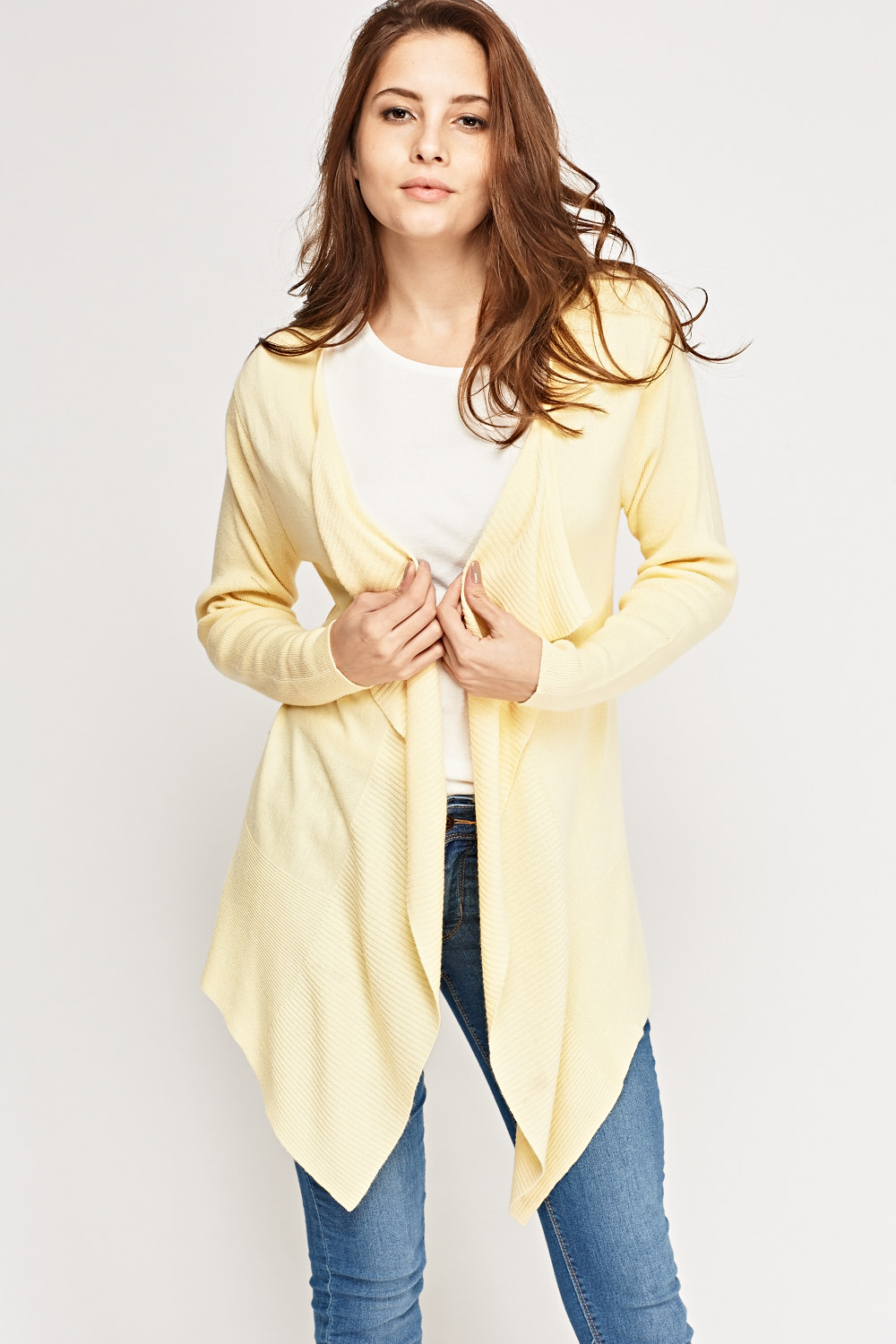 Ribbed Trim Waterfall Cardigan - Yellow or Mint - Just £5