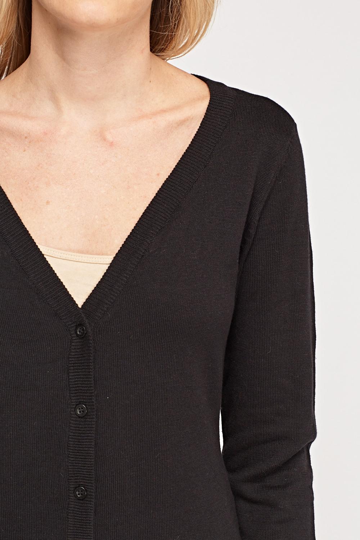 Thin Knit Basic Cardigan - Black - Just £5