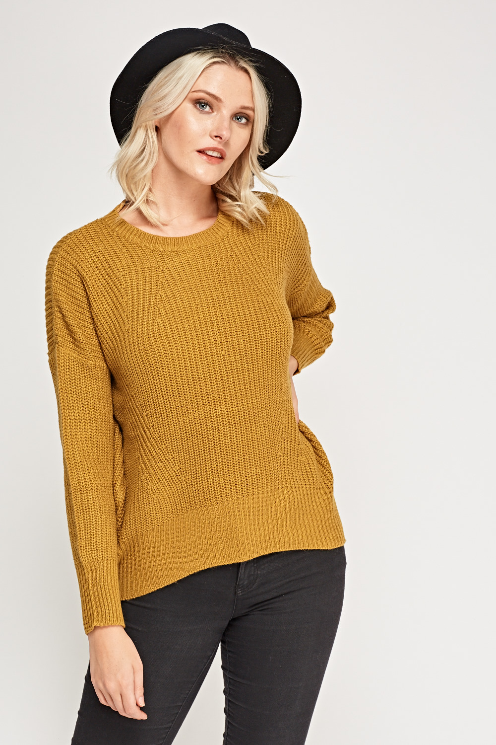 Mustard Cable Knit Jumper - Just £5