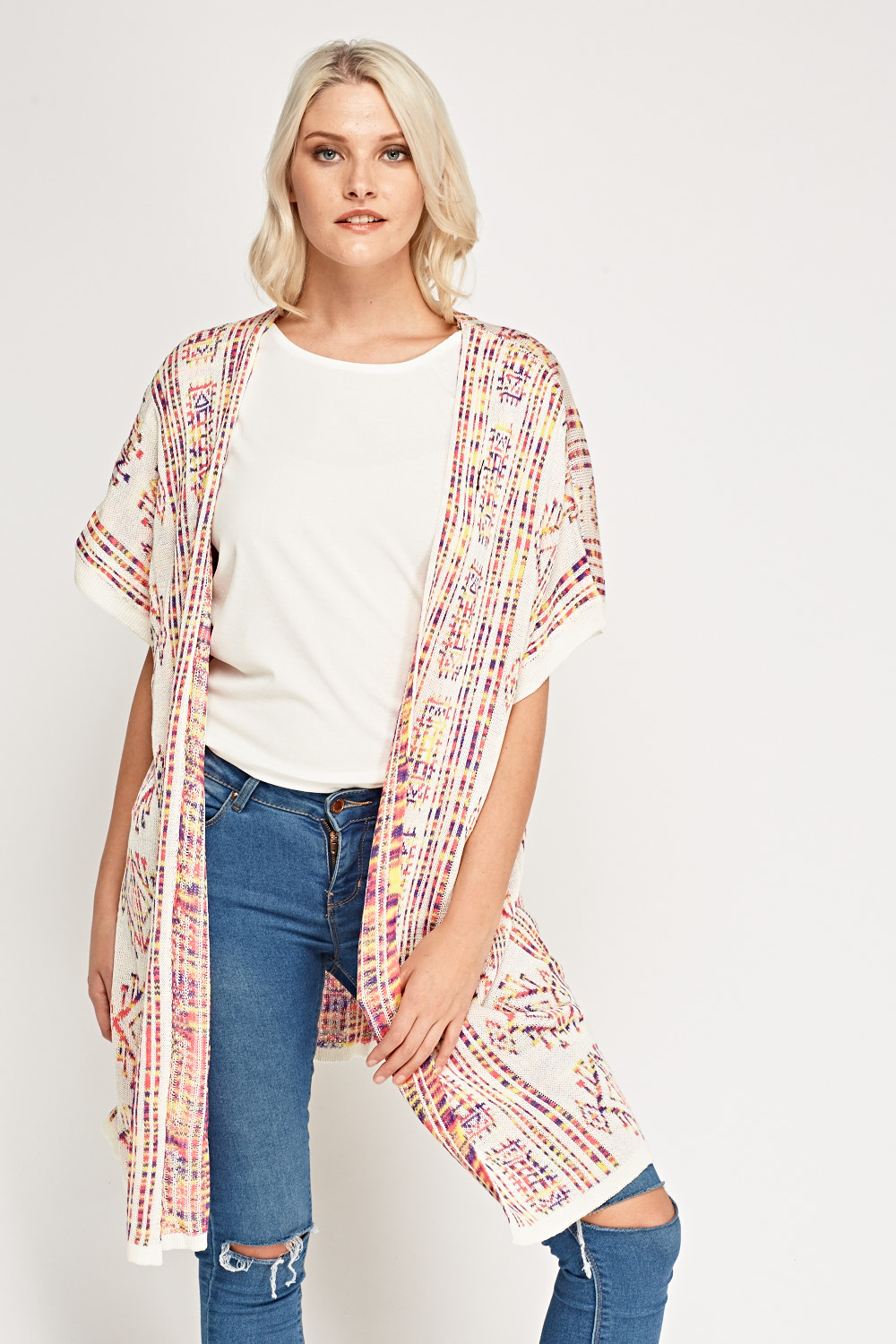 Short Sleeve Open Front Knitted Cardigan - White/Multi - Just £5
