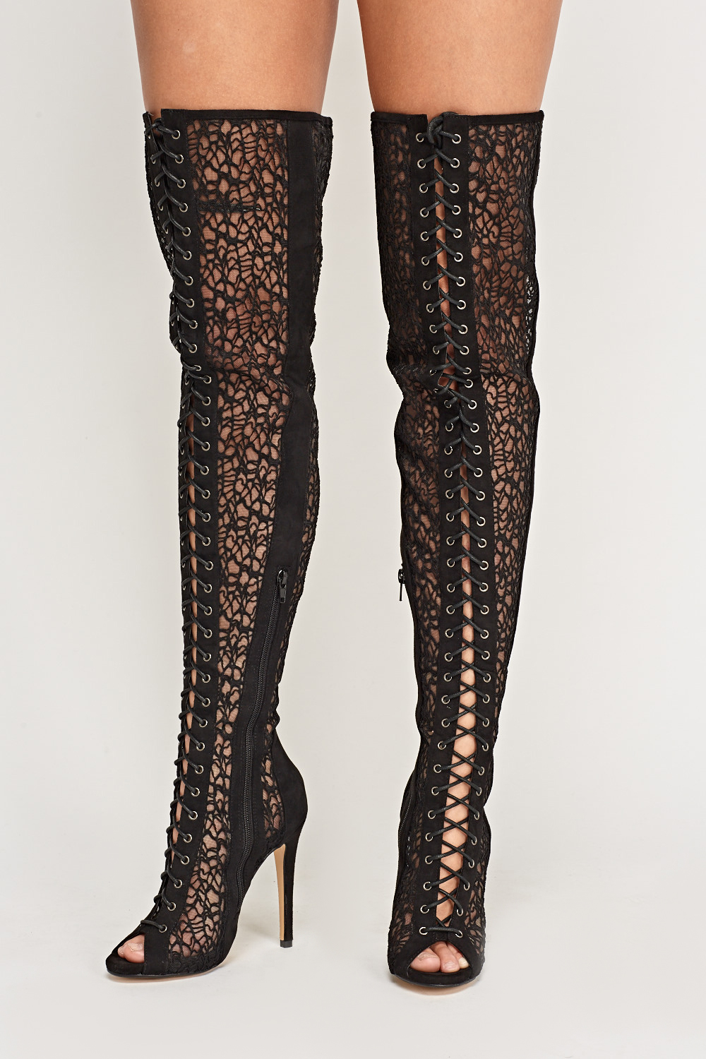52ca95befab Mesh Lace Up Over The Knee Boots - Just £5