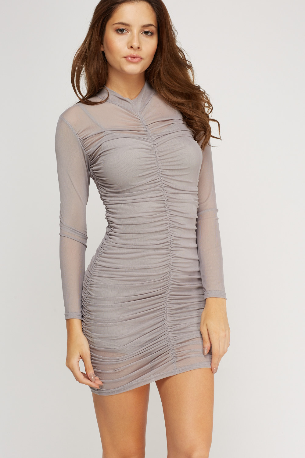 92442d37887 Mesh Overlay Ruched Dress - Just £5