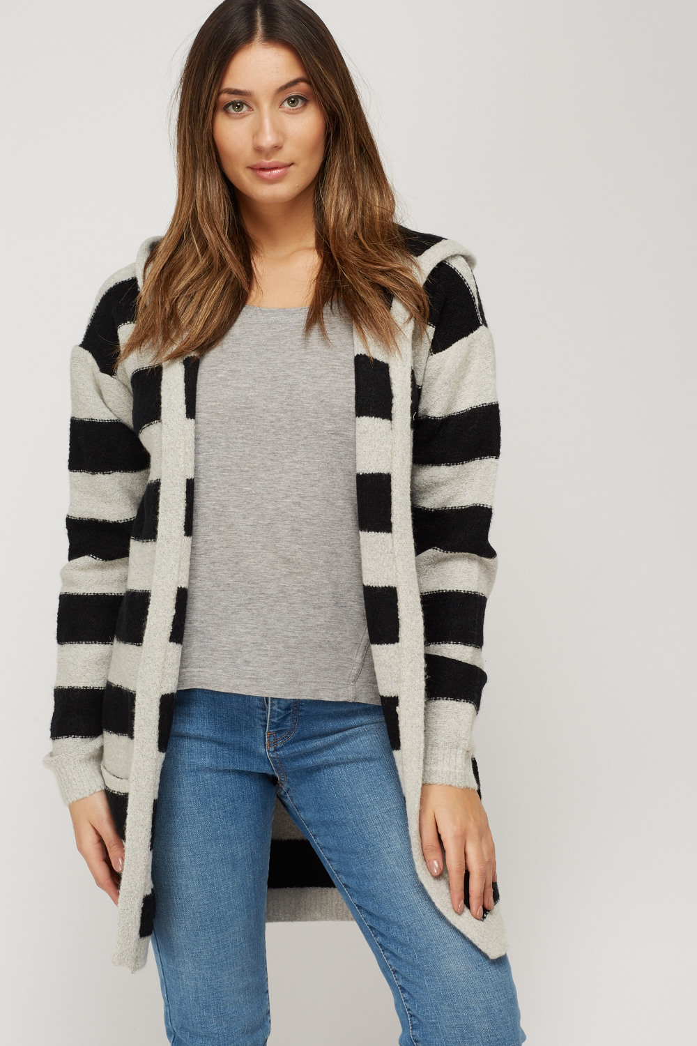 5d37968a43 Striped Knitted Open Front Cardigan - Just £5