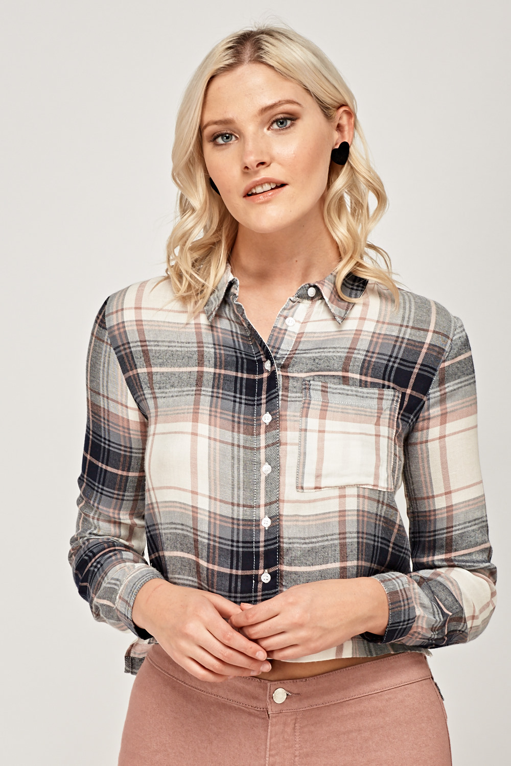 Grey Checked Cropped Shirt Just 163 5