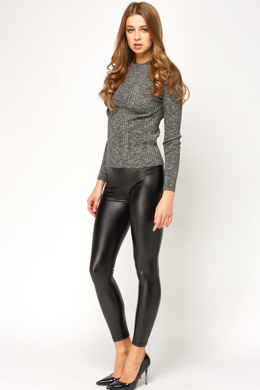 Black Faux Leather Leggings Just 163 5