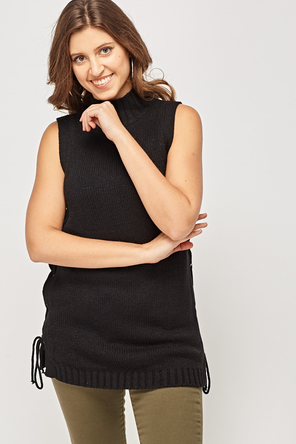 3983ac1b0ddb5f Tie Up Side Knitted Vest Top - Black - Just £5