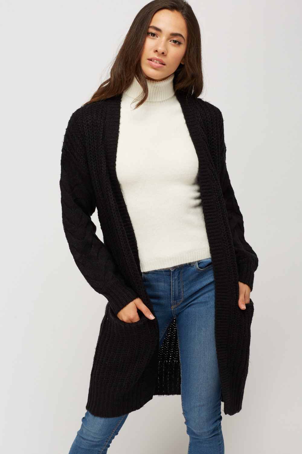 Cable Knit Open Front Cardigan - Black - Just £5