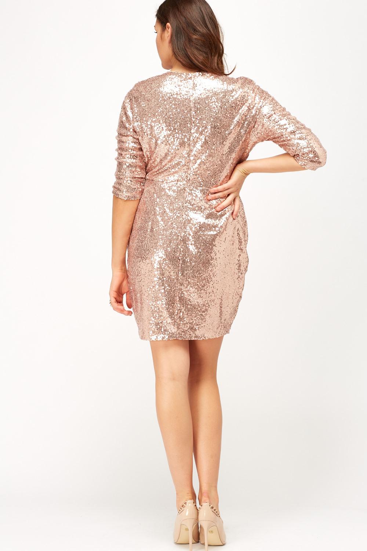 Wrap Plunge Sequin Dress Just 163 5