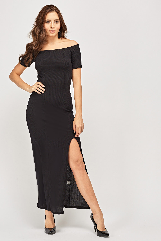 de8a1f664dd4 Off Shoulder Ribbed Knitted Maxi Dress - Just £5