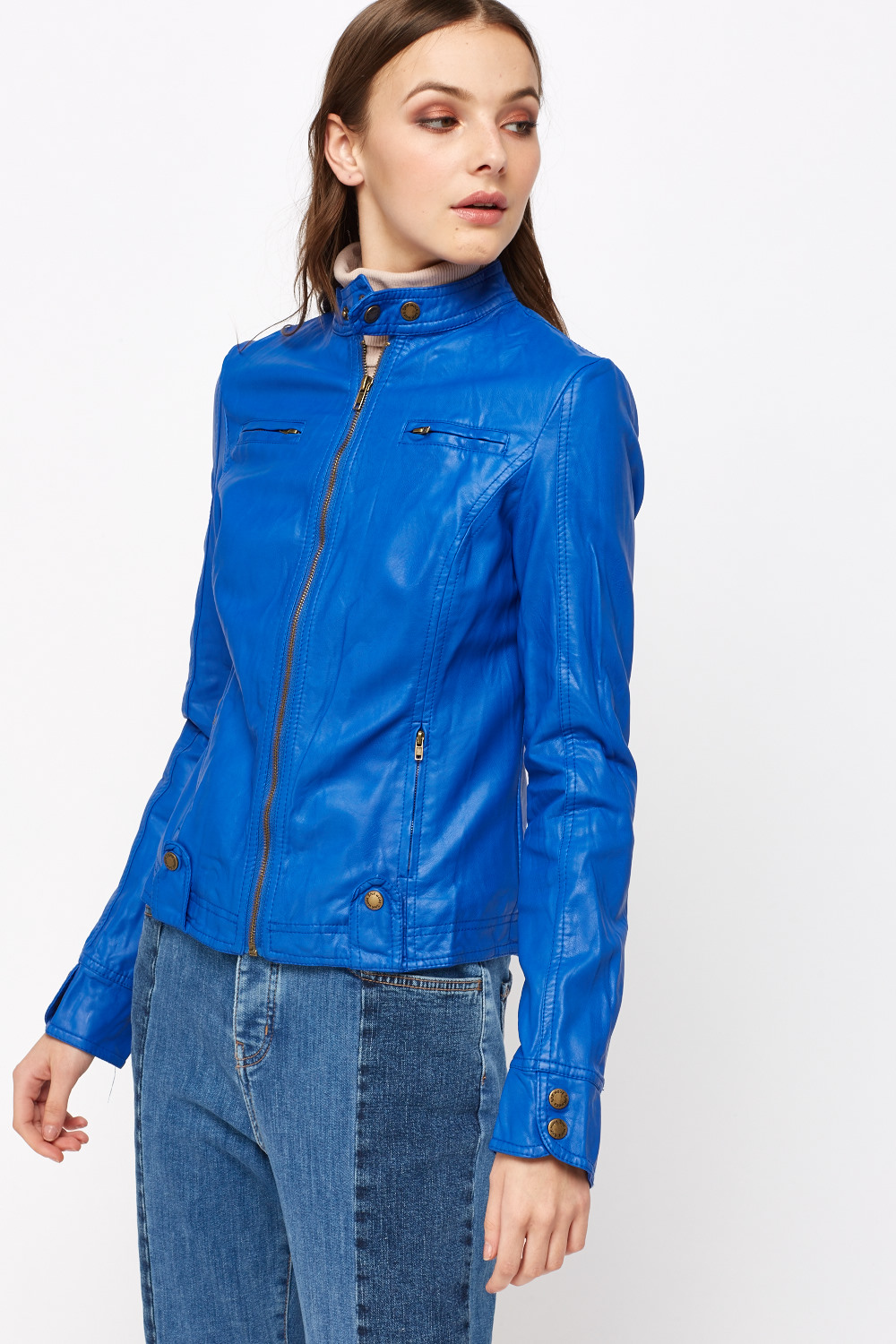 Royal Blue Faux Leather Jacket Just 163 5