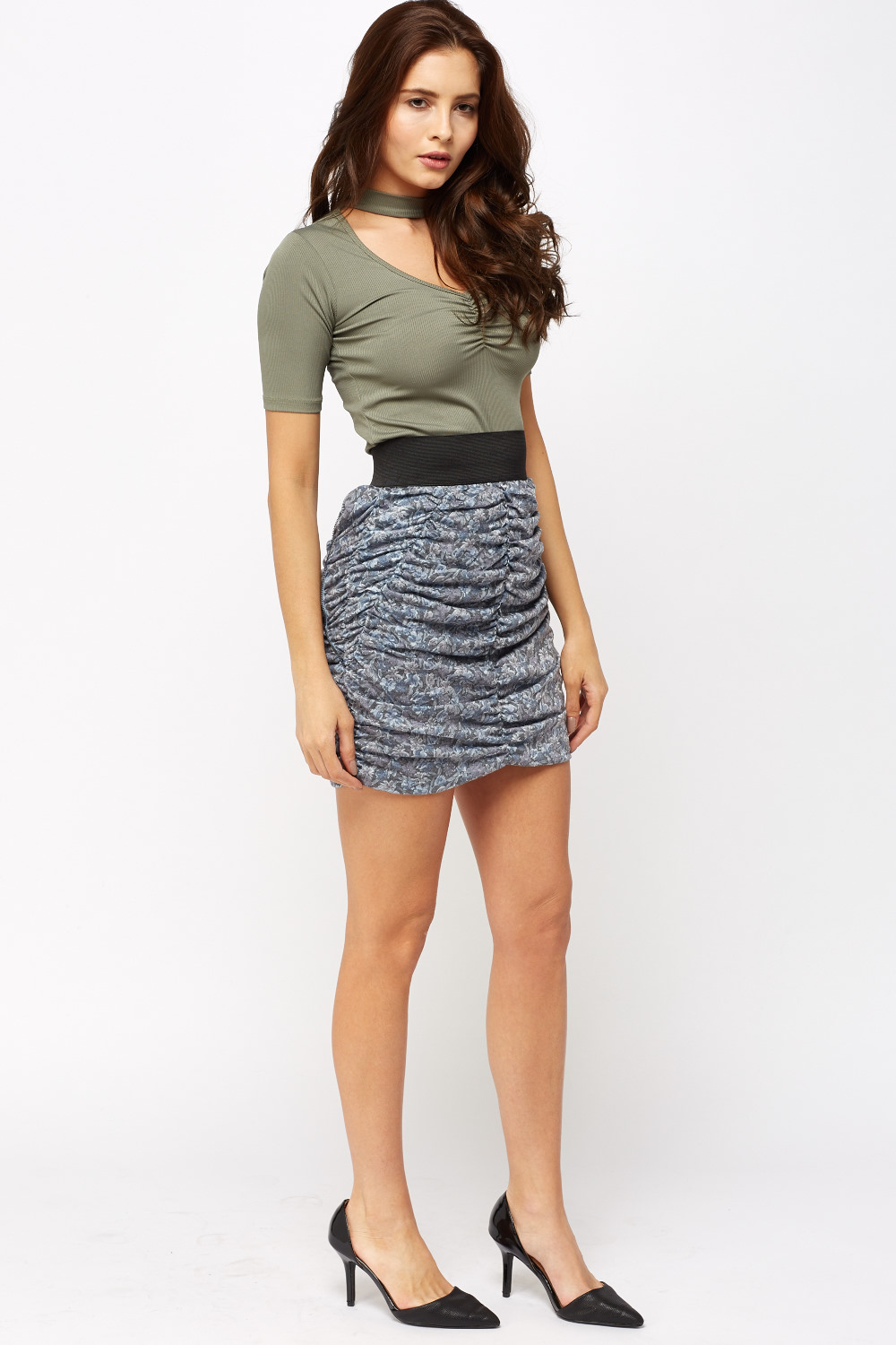 Ruched Floral Mini Skirt Just 163 5