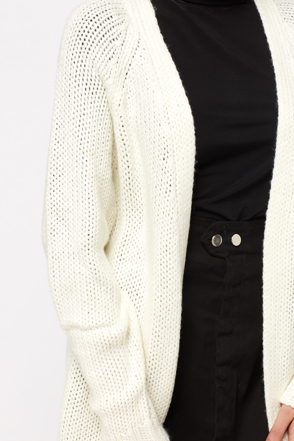 Chunky Loose Knit Cardigan - Cream - Just £5