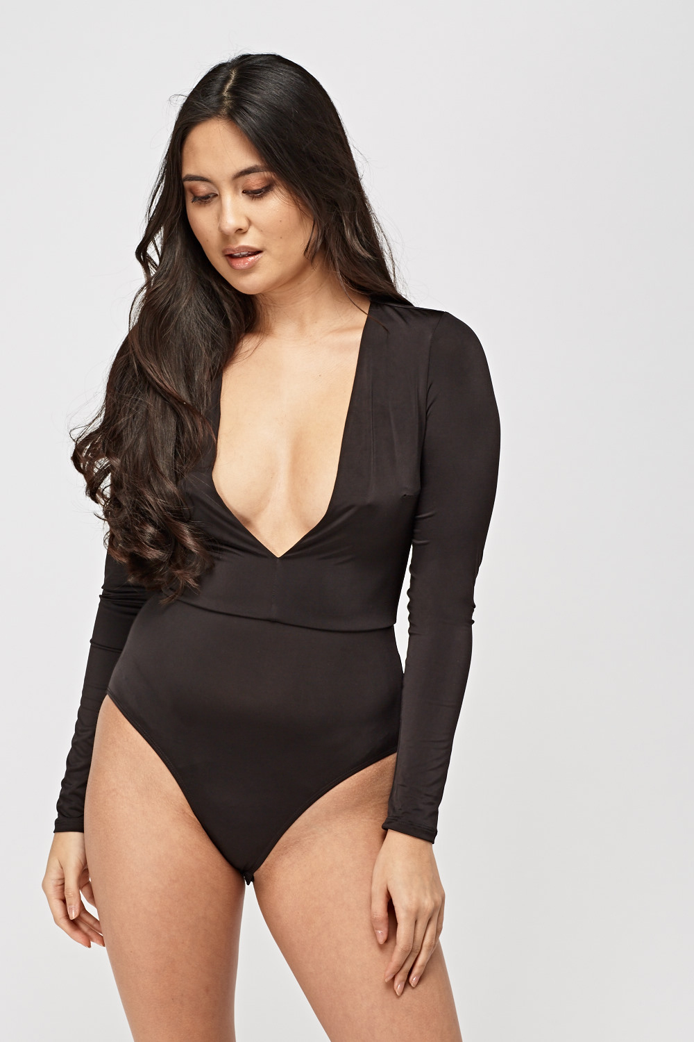 c4287f7a0f Long Sleeve Plunge Bodysuit - Just £2