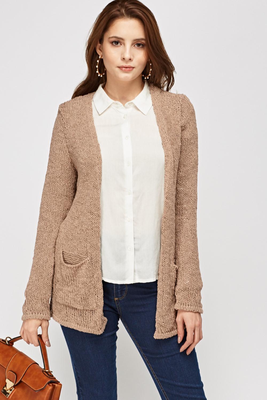 Grey V Neck Loose Knit Sweater | SHEIN USA