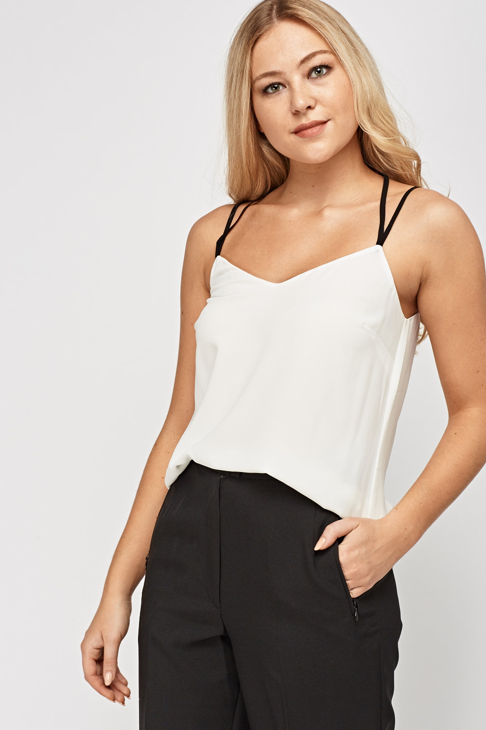 Lace Insert Back Sheer Cami Top Off White Just 163 5
