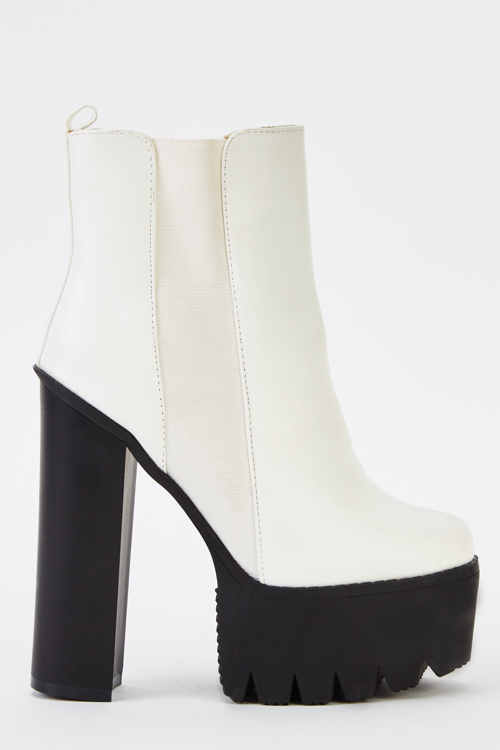 White Chunky Heeled Boots - Just £5