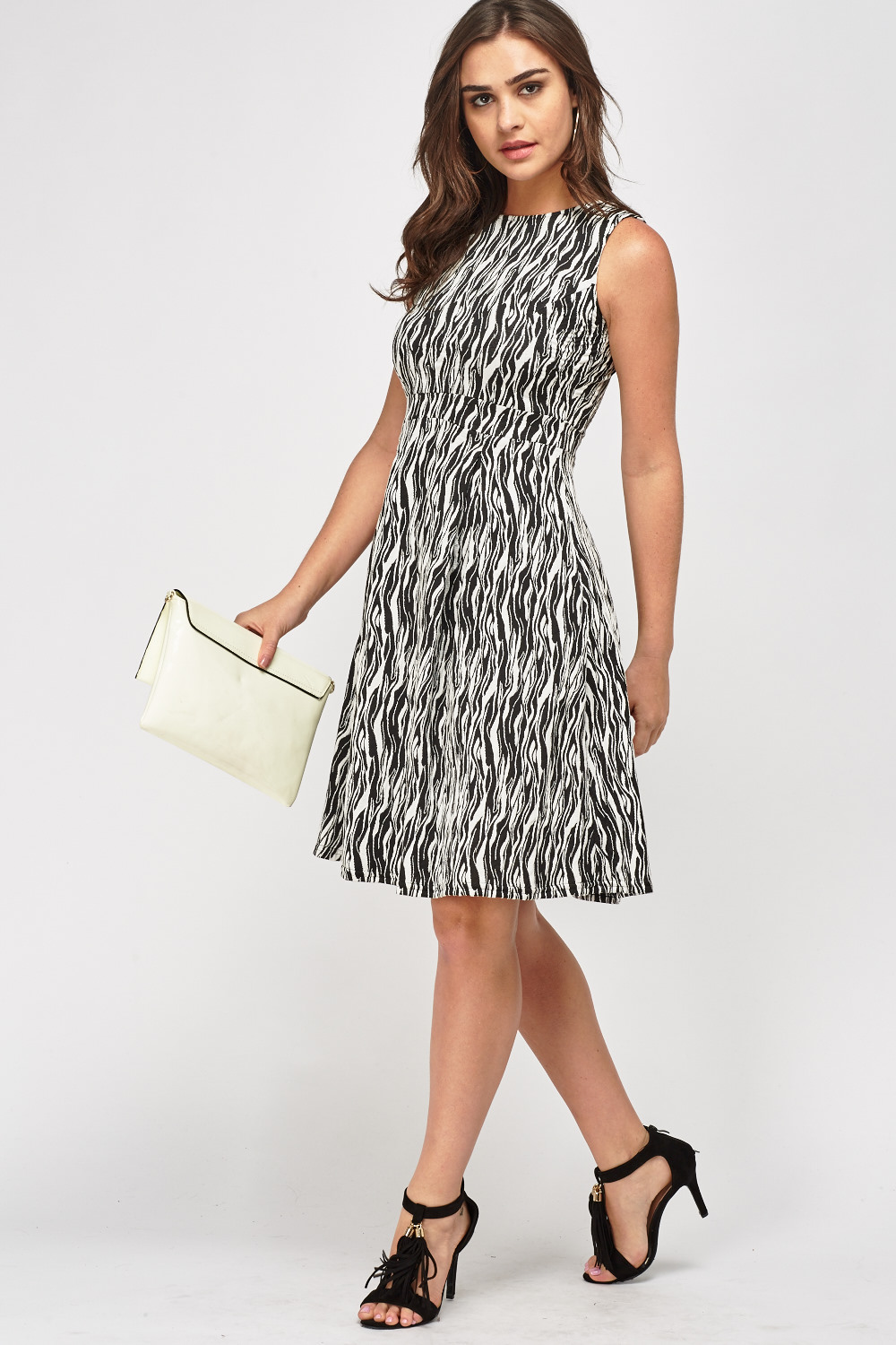 756c7a9c42 Textured Mono Printed Skater Dress - Just £5