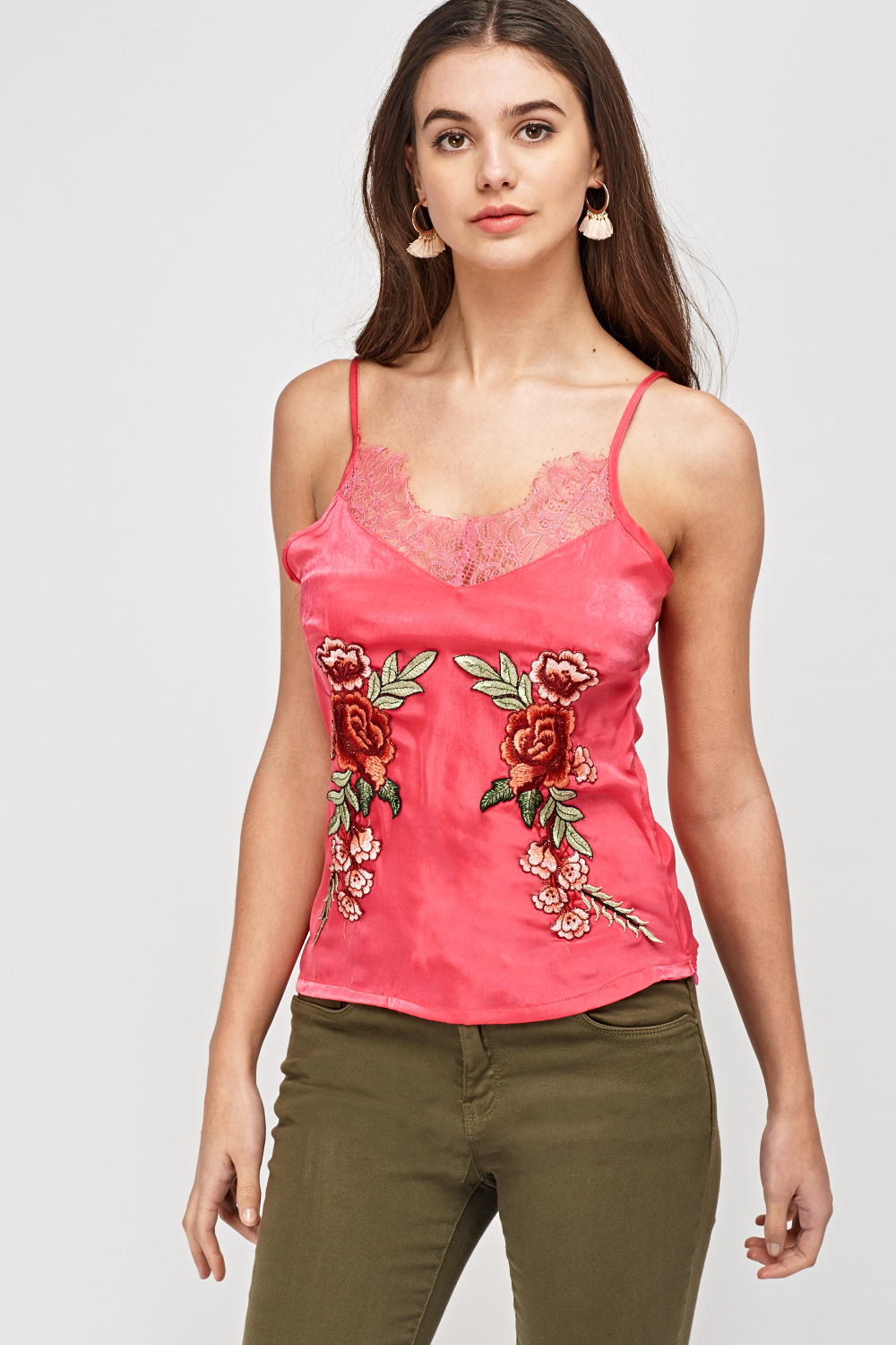 fbbb309d44ba Embroidered Lace Trim Sateen Cami Top - Just £5