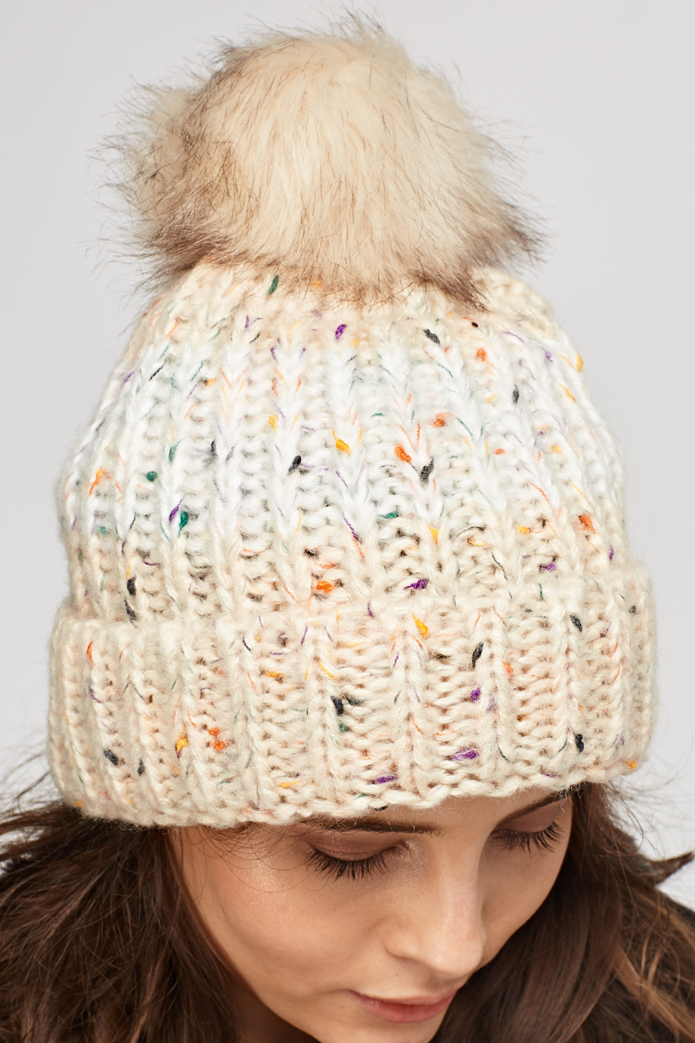 70f775e7a5d Speckled Knitted Pom Beanie Hat - Just £5