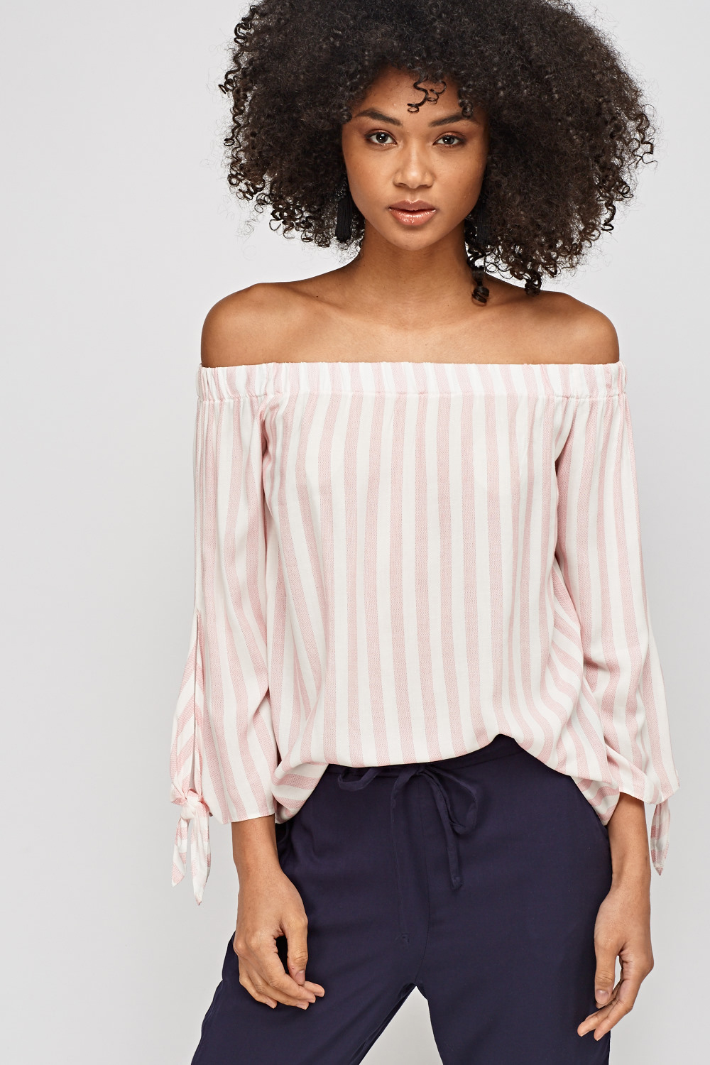646550ba512e34 Striped Off Shoulder Top - Just £5