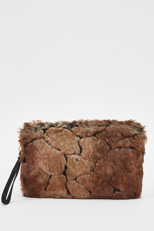 Brown Faux Fur Clutch Bag - Just £5 d47864a0dd069