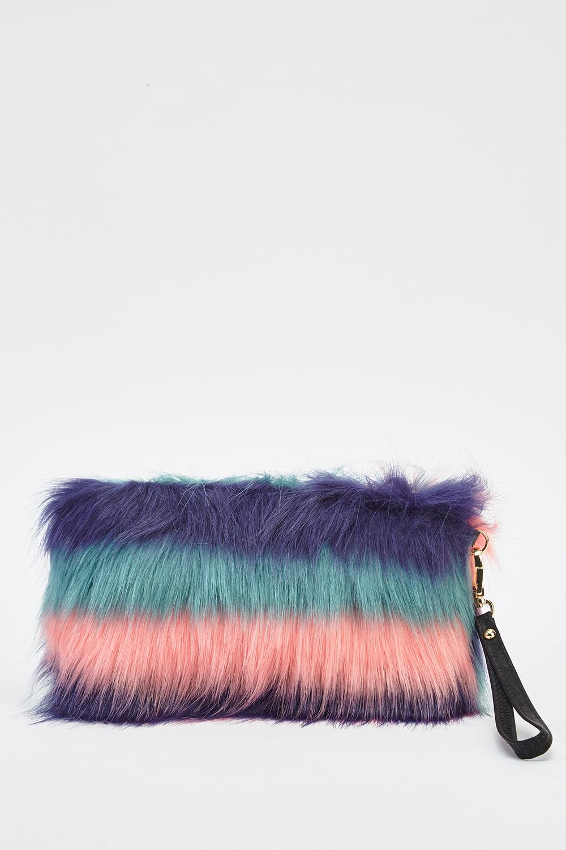 1a17aa3f359 Multi Coloured Faux Fur Clutch Bag - Just £5