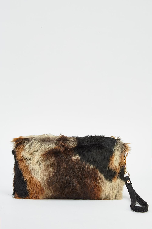 Multi Coloured Short Faux Fur Clutch - Just £5 d4cfaffef716e