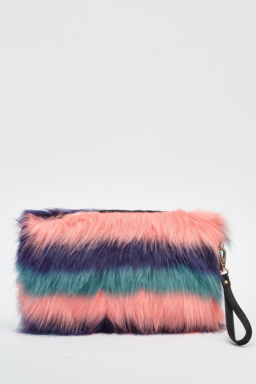 Pink Multi Faux Fur Clutch Bag - Just £5 e481b7cd25f66