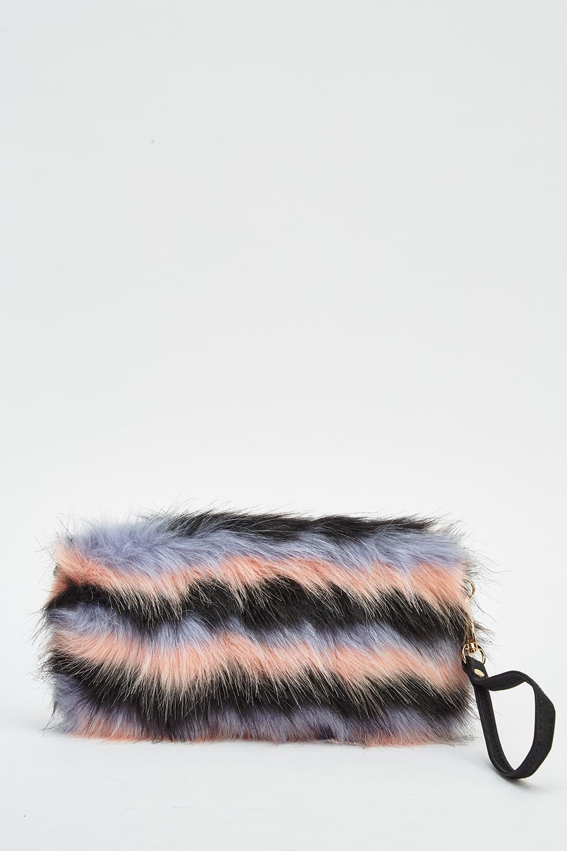 Striped Faux Fur Clutch Bag - Just £5 d65e3bae27dc9