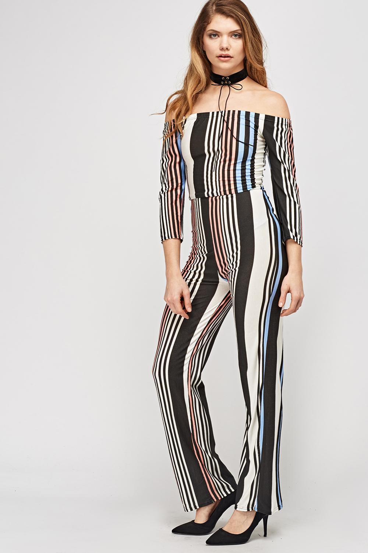 13a2c4c2ee8 Multi Striped Off Shoulder Jumpsuit - Just £5