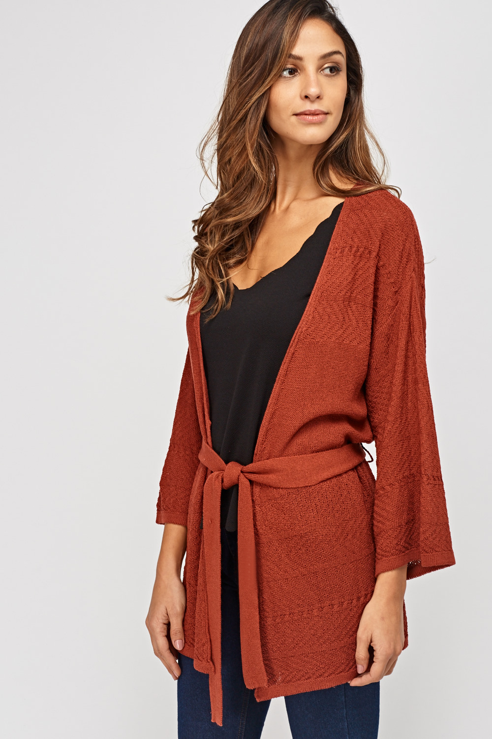 628593784e Loose Knit Tie Up Cardigan - Just £5