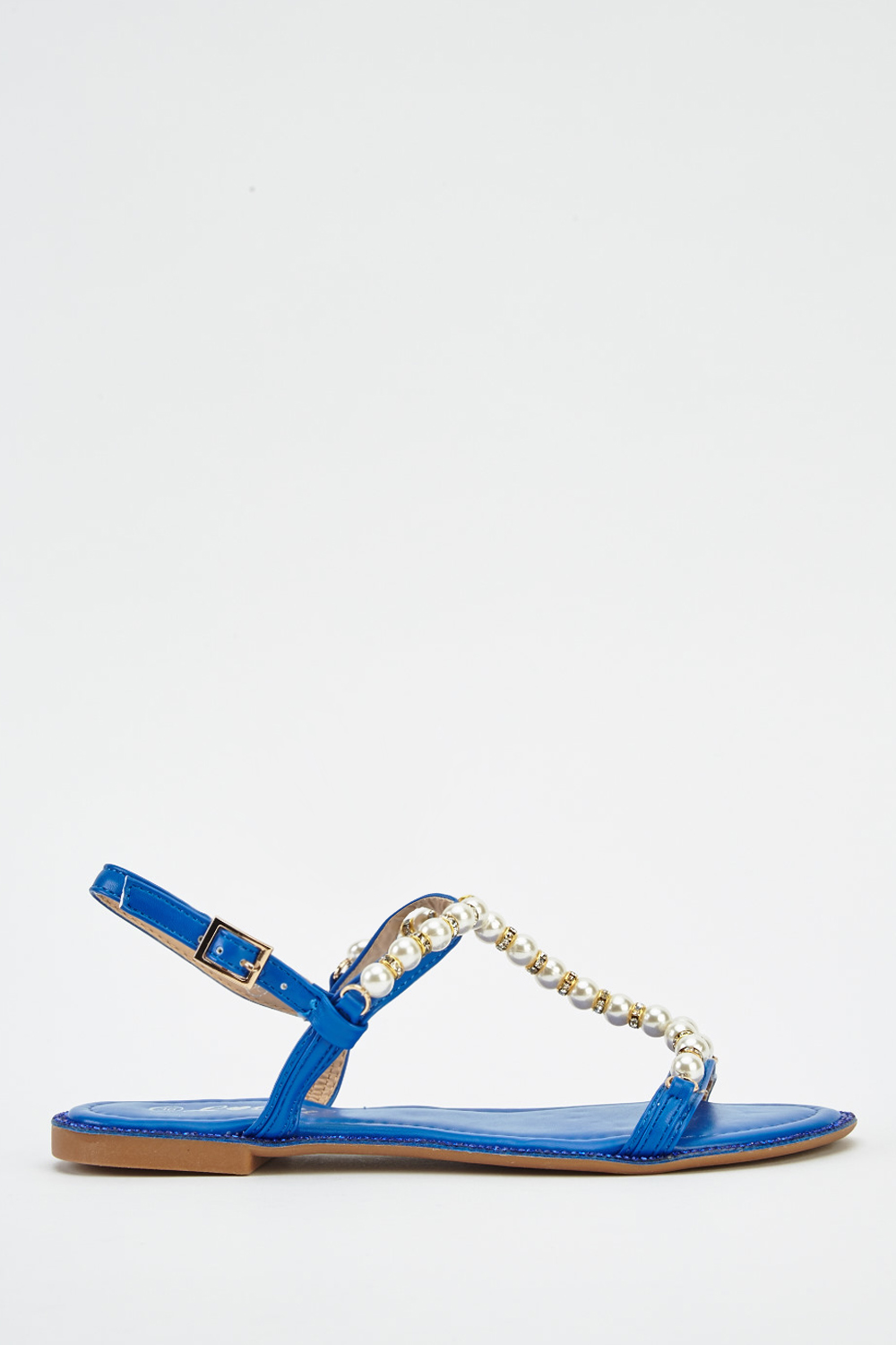 Faux Pearl T-Bar Strap Sandals - Blue - Just £5