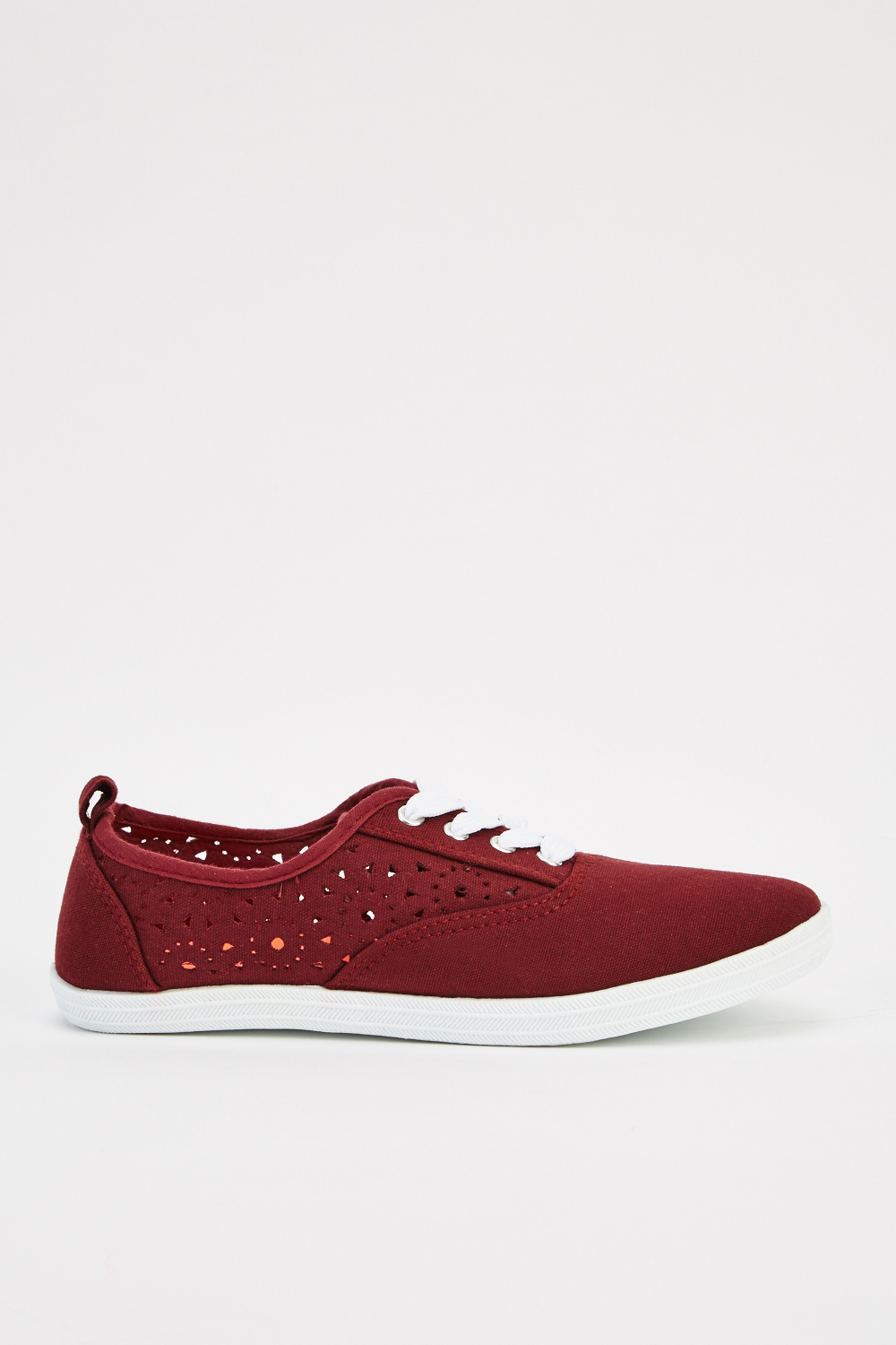 cbdc59ee8b9 Contrast Laser Cut Canvas Shoes - Burgundy - Just £5
