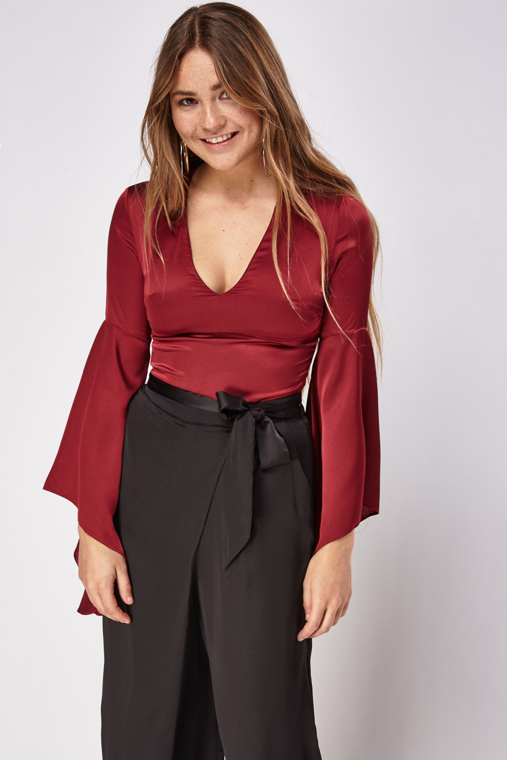 93530e9420c94 Silky Plunge Flare Sleeve Crop Top - Just £5
