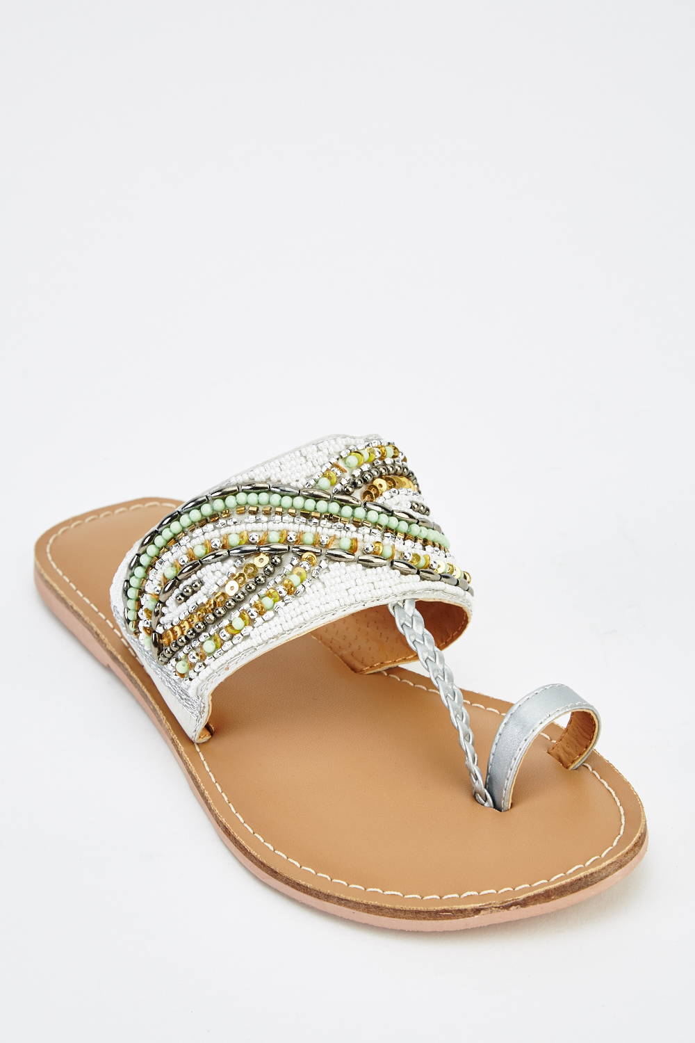 9b4b5d0ea42a9 Embellished Front Metallic Flip Flop Sandals - Just £5
