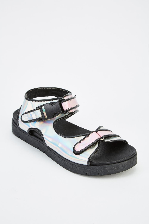 Holographic Flatform Sandals - Just $6