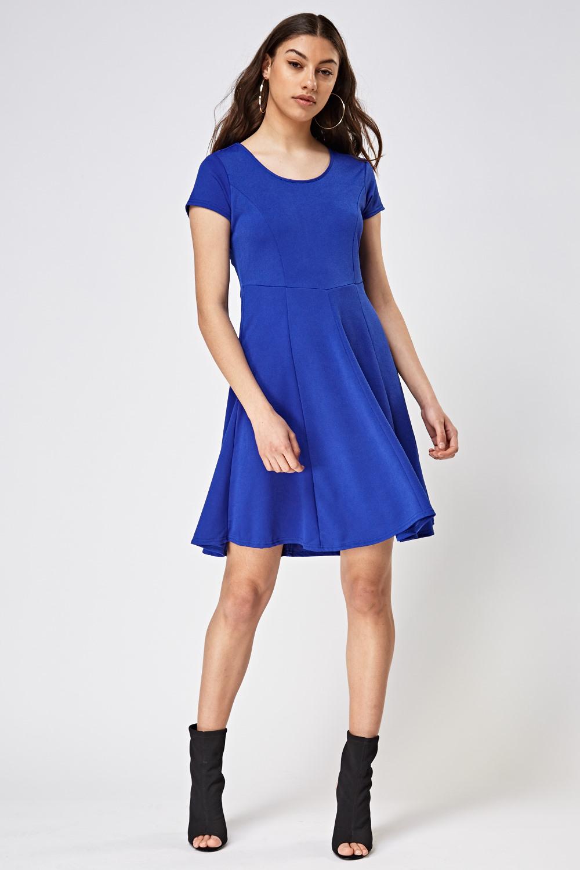 c74526e9c42f Royal Blue Textured Swing Dress - Just £5