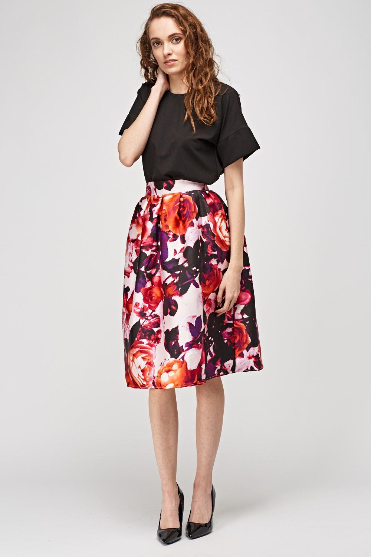 3c7d630b69 Floral Print Box Pleat Midi Skirt - Just £5