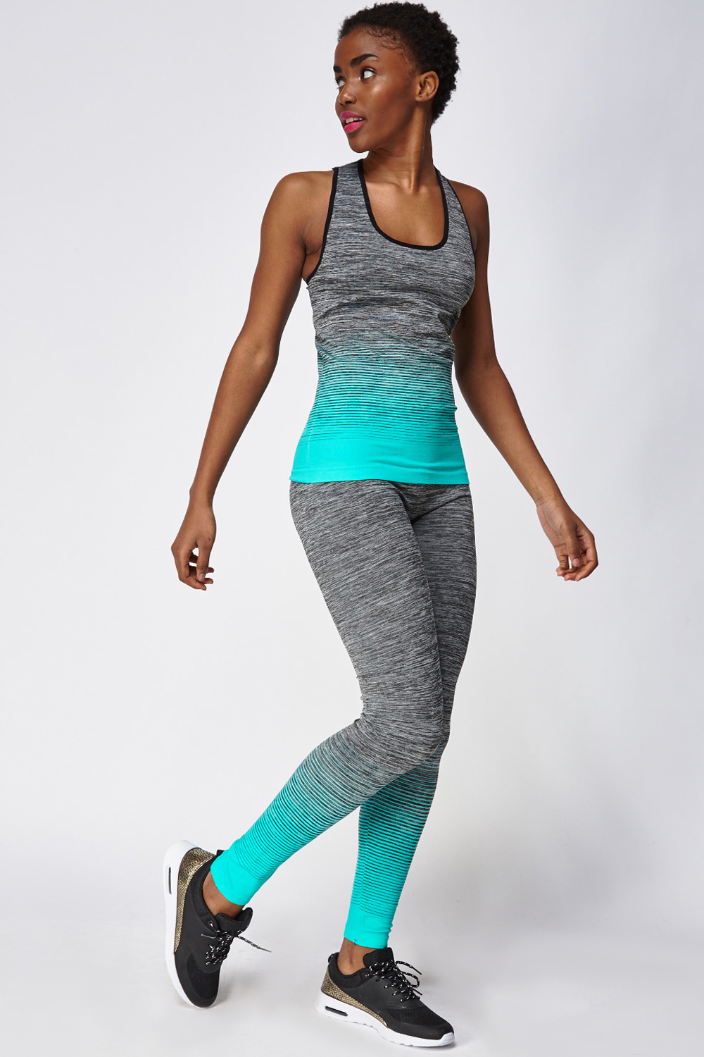 b69bcb77c14c9 Turquoise Mixed Tank Top And Leggings Sports Set - Just £5